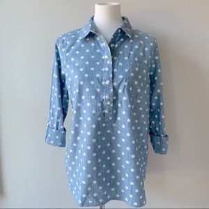 Tommy Hilfiger Chambray and White Polkadot Top